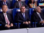 ХОК президенті Томас Бах  Риодағы Олимпиада ойындарының ашылуына қатысуда