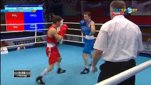 Бокстан Қазақстан чемпионаты: 18 жастағы Серік Теміржанов (60 кг) қарсыласын айқын басымдылықпен ұтты