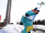 Шығысқазақстандық алаугер Константин Горлачевтің эстафета кезіндегі трюк жасауы